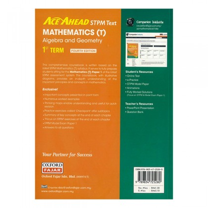 ACE AHEAD STPM TEXT MATHEMATICS (T) ALGEBRA AND GEOMETRY 1 TERM
